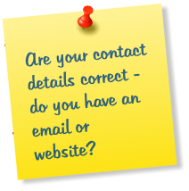 Are your contact details correct - do you have an email or website?
